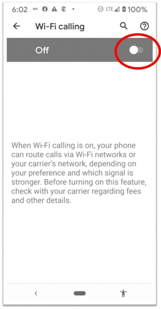 Enable Wi-Fi calling to receive calls in the library