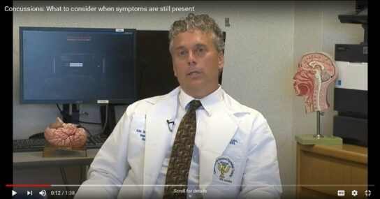 Dr Kirk Stucky talks about concussions on a local TV station's Medical Minute segment. 2015 file photo